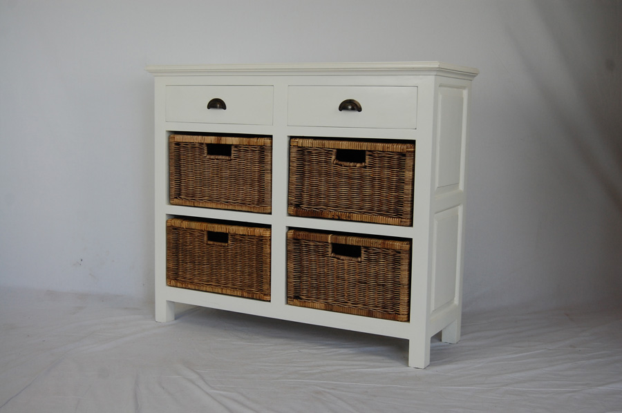 Madika White 4 Basket 2 Drawer Unit Villa And Hut