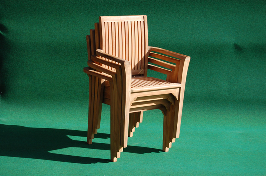 teak stacking chair villa and hut