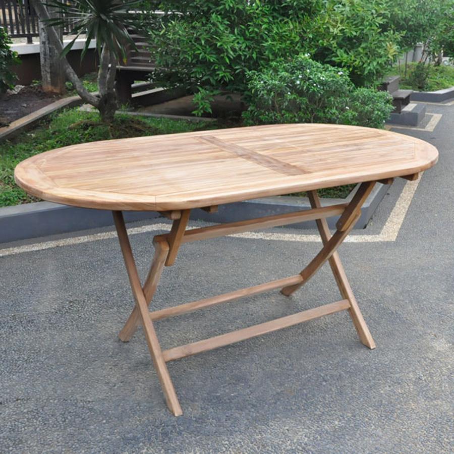 Teak Oval Folding Table 1 6m Villa And Hut