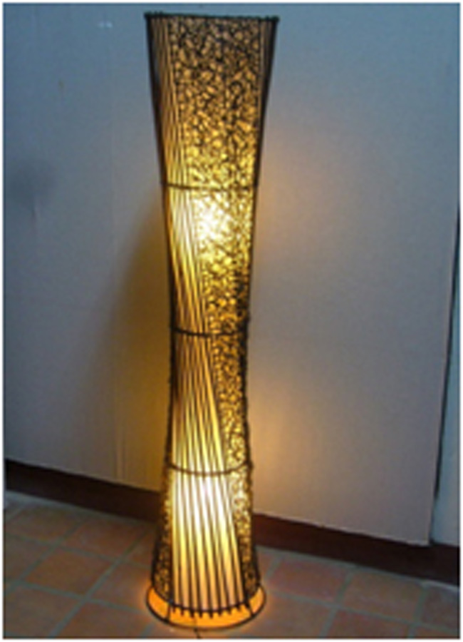... Thai Bamboo And Rattan Floor Lamp