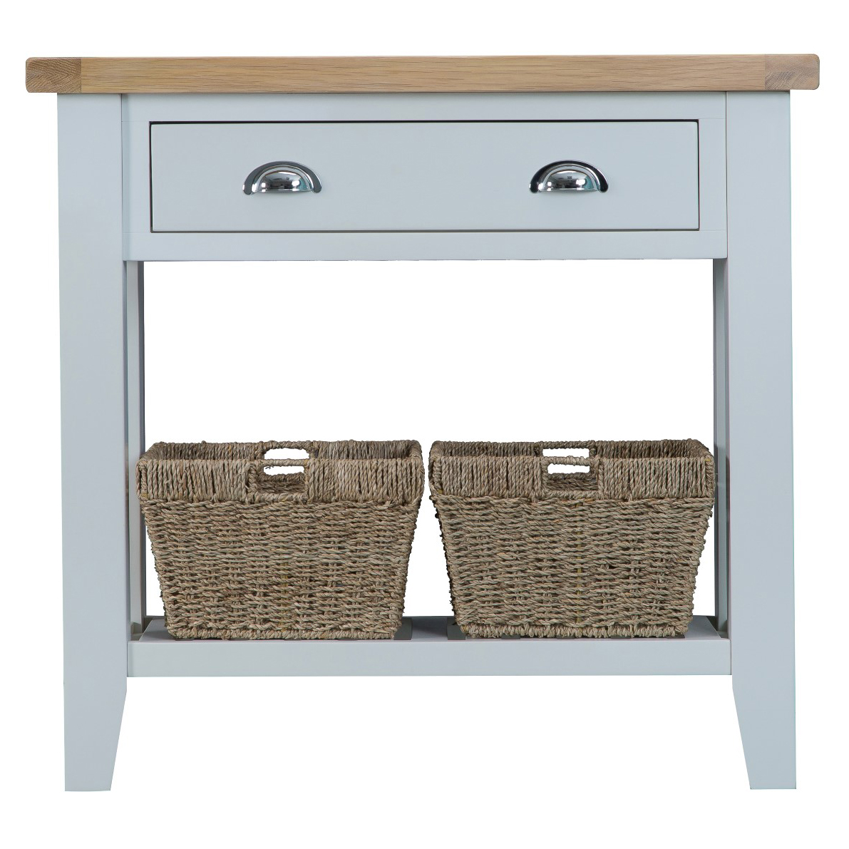 Console Table With Baskets   Grey
